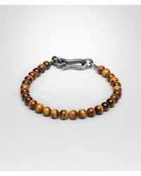 Bottega Veneta - Brown Bracelet In Silver Tiger's Eye Stones for Men - Lyst