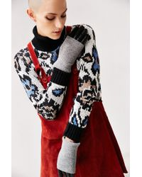 Urban Outfitters | Gray Fuzzy Knit Leather Glove | Lyst
