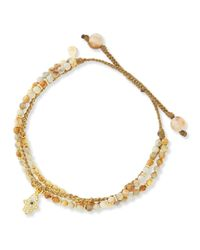 Tai | Metallic 3-strand Sand Beaded Bracelet With Hamsa Charm | Lyst