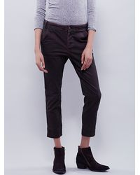 Free People | Brown Slim & Slouchy Trouser | Lyst