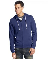 American Rag - Blue Solid Full-Zip Fleece Hoodie for Men - Lyst