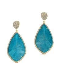 Anne Sisteron | 14kt Yellow Gold Blue Apatite Diamond Leaf Shape Earrings | Lyst