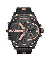 DIESEL - Black Diesel 'mr. Daddy 2.0' Chronograph Leather Strap Watch for Men - Lyst