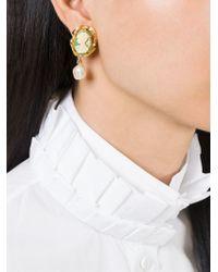 Dolce & Gabbana | Green Cameo Pearl Earrings | Lyst