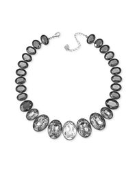 Swarovski - Gray Rhodiumplated Graduated Crystal Statement Necklace - Lyst