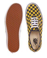 Vans - Yellow Authentic Plimsolls In Checkerboard for Men - Lyst