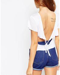 ASOS | White Petite Open Tie Back Flutter Sleeve Top | Lyst