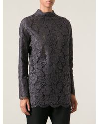 Valentino - Gray Lace Blouse - Lyst