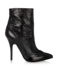 fecac51a2f2791 Tory Burch Fable Textured Patent-leather Boots in Black - Lyst
