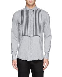 Kolor - Blue Stripe Bib Cotton Shirt for Men - Lyst