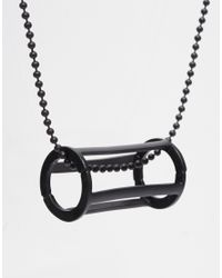 ASOS | Black Geometric Necklace With Circular Cage Pendant for Men | Lyst