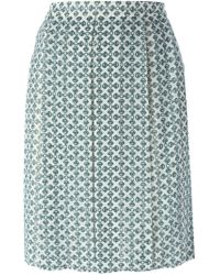 Tory Burch - Blue Chain Print Skirt - Lyst