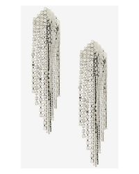 Express - Metallic Rhinestone And Metal Fringe Earrings - Lyst
