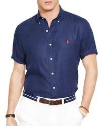 Ralph Lauren | Blue Polo Short Sleeved Linen Shirt - Classic Fit for Men | Lyst