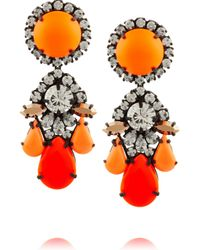 Shourouk | Orange Marguerite Gunmetal-tone Painted Crystal Earrings | Lyst