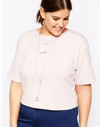 ASOS | Metallic Fine Bar & Shapes Multirow Necklace | Lyst