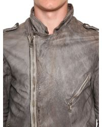 Giorgio Brato - Gray Vegetable Dyed Washed Leather Jacket for Men - Lyst
