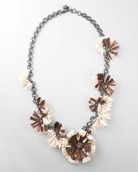 Lanvin - White Long Raffia Flower Necklace, 41l - Lyst