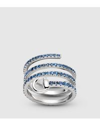 Gucci | Blue Horsebit Ring In White Gold And Sapphires | Lyst