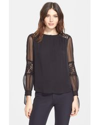 Rebecca Taylor - Black Long Sleeve Silk And Lace Blouse - Lyst