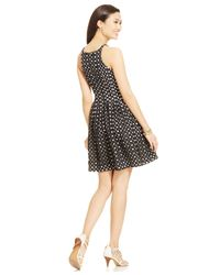 Vince Camuto - Black Contrast Eyelet Pleat Dress - Lyst
