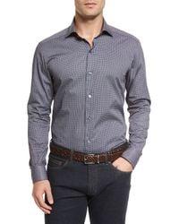 Ermenegildo Zegna - Multicolor Micro-print Long-sleeve Sport Shirt for Men - Lyst