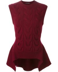 Alexander McQueen - Red Cable Knit Peplum Top - Lyst