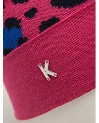 KENZO - Pink Leopard Print Beanie - Lyst