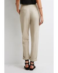 Forever 21 - Natural Linen-blend Capri Pants - Lyst