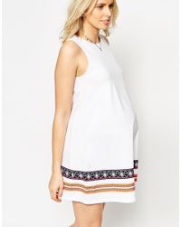 ASOS - Blue Swing Dress With Embroidered Tape Detail - Lyst