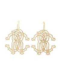 Roberto Cavalli | Metallic 'rc' Swarovski Strass Earrings | Lyst