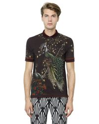 Dolce & Gabbana | Purple Peacock Print Cotton Piqué Polo for Men | Lyst