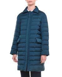 Jil Sander - Blue Spread-collar Zip-front Puffer Coat - Lyst