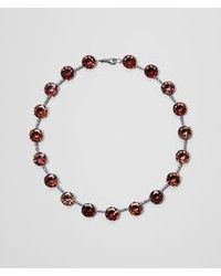 Bottega Veneta Red Russet Silver And Stones Necklace
