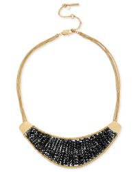 Kenneth Cole | Metallic Gold-tone Woven Black Bead Drama Necklace | Lyst