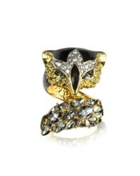 Roberto Cavalli - Metallic Fox Brass And Crystal Ring - Lyst