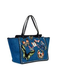 Valentino - Multicolor Butterfly Rockstud Denim Tote Bag - Lyst