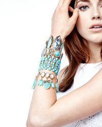 Fragments | Blue Cabochon Rhinestone Stretch Bracelet Turquoise | Lyst