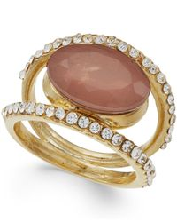 INC International Concepts | Metallic Gold-tone Mauve Stone Pavé Ring | Lyst