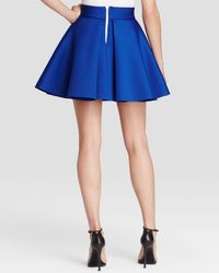 Aqua | Blue Skirt - Inverted Pleat Flared | Lyst