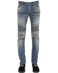 Balmain - Blue 16.5cm Destroyed Stretch Denim Jeans for Men - Lyst