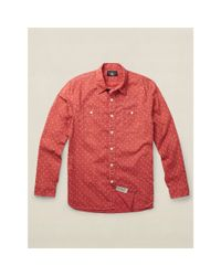 RRL | Red Printed Poplin Workshirt for Men | Lyst