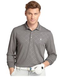 Izod | Gray Diamond-pattern Long-sleeve Polo for Men | Lyst