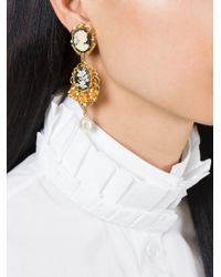 Dolce & Gabbana - Black Cameo Earrings - Lyst