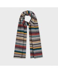 Paul Smith   Gray Multistripe Knit Scarf   Lyst