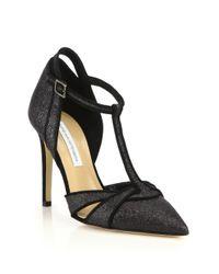 Diane von Furstenberg | Black Baylee Glitter Suede T-strap Pumps | Lyst