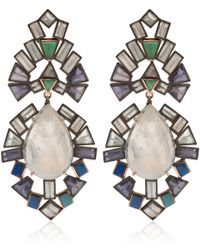 Nak Armstrong - White Moonstone, Tanzanite, Emerald, Aquamarine And Iolite Earrings - Lyst