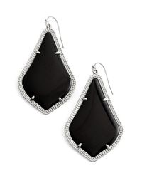 Kendra Scott | 'alexandra' Agate Drop Earrings - Rhodium/ Black Opaque Glass | Lyst