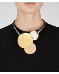 Bottega Veneta - Yellow Oro Giallo Oro Rosa Rock Crystal Burnished Silver Necklace - Lyst