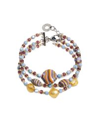 Antica Murrina | Millerighe - Pastel Multicolor Murano Glass W/stripes And Gold Leaf Bracelet | Lyst